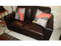 Faux Leather Brown 2 Seater Compact Sofa with wooden legs