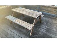 Outdoor park bench and table