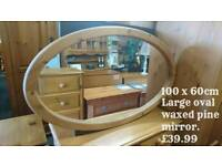 Solid waxed pine mirror