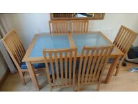 **PINE & GLASS DINING TABLE+6 CHAIRS**