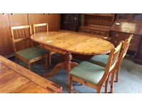 Pine dropleaf dining table and 4 chairs