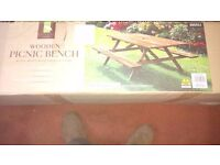 NEW Wooden Garden Picnic Bench, in box, easy assambly, see photos & details