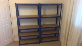 Two 5 tier metal shelves