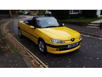 2000 PEUGEOT 306 CABRIOLET 2.0 PETROL YELLOW 72,000 MILES SERVICE HISTORY MOT MAY 18