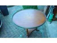Round leather top table