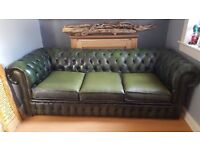 Green Chesterfield leather 3 seater sofa. SOLD PENDING COLLECTION