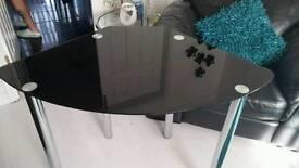 Black glass and chrome corner desk table