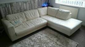A DFS Cream/Ivory Leather Corner Sofa