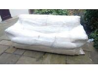 Cream 3 Seater Leather Sofa - FREE