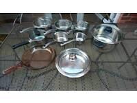 9 TEFAL pieces pots pans cookset