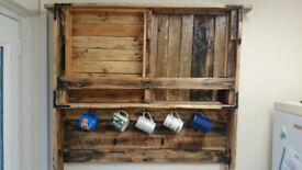 large palletwood dresser style wall unit