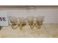 2 Pairs of brass effect wall l;ights