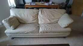 Sofa italian leather cream 3 seater good condition £200 ono