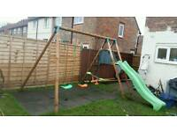 Wooden swing set with extras