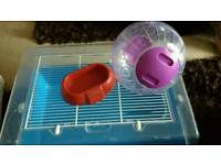 HAMSTER CAGE, FOOD BOWL AND EXERCISE RUNNING BALL