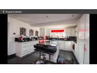 Fully fitted gloss white kitchen including some appliances and work tops