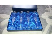4 NEW royal scot lead crystal champagne glasses