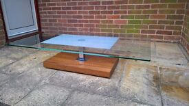 Glass and Solid Walnut Coffee Table