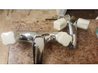 Bathroom taps, both sink/bath chrome with beige ceramic handles