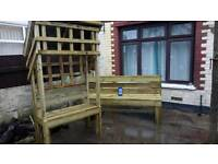One Off Garden Bench With Trellace... Plus Large Heavy Duty Bench 6ft