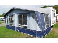 Isabella Caravan Awning 975cms, Blue, Fibre glass poles, verandah pole, skirt, curtains & pegs.