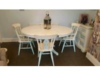 shabby chic white and blue solid pine extending table and four chairs