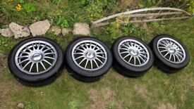 R15 4x100 4x114.3 Team Dynamics Monza R alloy wheels with tyres 6.5jj