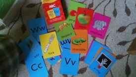 Alphabet Letters Learning Flash Cards, Pictures and Words
