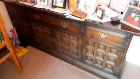 Solid oak antique side board