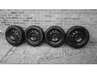 """Four BMW 16"""" steel wheel rims with Pirelli winter tyres (Fit 3-Series E46/36 & X3 E83 04-10 & others"""