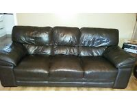 3 & 2 seater brown leather couch