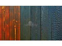 Charred timber, shou sugi ban, charred larch, japanese cladding paneling