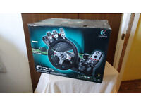 Logitech G25 steering wheel, pedals and shifter. boxed and fully working