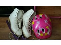 Ice skating boots, roller skates and helmet for girls