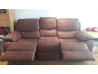 Brown faux-suede 3 seater electrical recliner sofa
