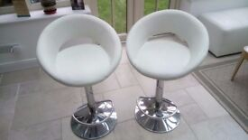 Pair of cream faux leather and chrome bar stools