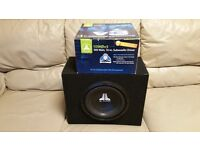 CAR SUBWOOFER JL AUDIO 10W0V3 10 INCH SPEAKER WITH ENCLOSURE BOX AND MANUALS SUB WOOFER