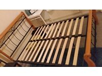Double bed frame solid wood and cast iron bed frame
