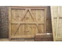 Pair of wooden garden gates - high quality - heavy duty