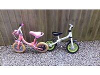 1 boys and 1 girls balance bikes