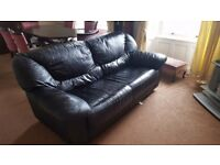 Black Leather Sofas (3 seater and 2 seater) for sale