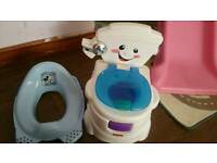 music training potty and blue toilet trainer