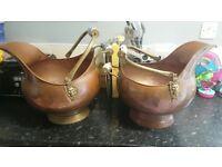 2 Vintage copper brass coal scuttles