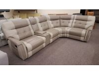 New Ex Display SCS Lush 3 Corner 1 Manual Leather Corner Sofa & Console **CAN DELIVER**