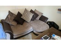 4 seater dfs pillow back corner sofa, great condition