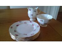 Adderley Bone china tea plates, milk jug and sugar bowl