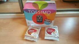 Tassimo Bosch Suny blue coffee espresso machine maker + Costa capsules (Nespresso/Delonghi)