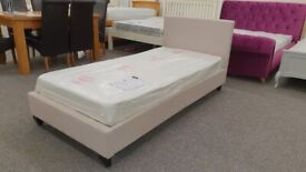 Brand New Christie Textured Chenille Natural Fabric Single Bed Frame (Bed Only) Can Deliver