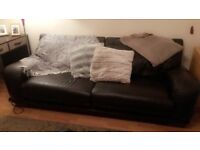 6ft brown leather sofa with pouffe