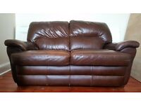Brown Leather Sofa- 2 person - £100